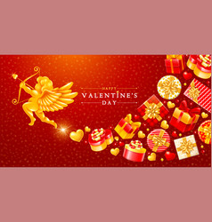 valentines day greeting card with cupid and gift vector image