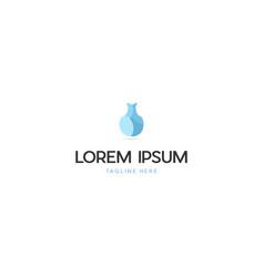 Vase ceramics outline creative logo design vector