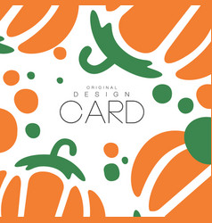 vegetable card template with pepper natural and vector image