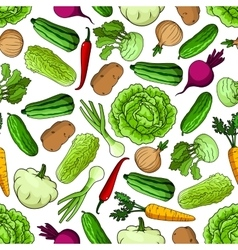 Vegetables seamless pattern for farming design vector image