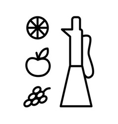 Vinegar in glass jar line art style vector