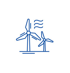 wind power line icon concept wind power flat vector image