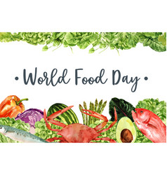 World food day frame design with crab fish vector