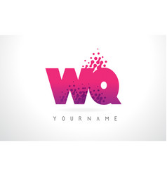 wq w q letter logo with pink purple color and vector image