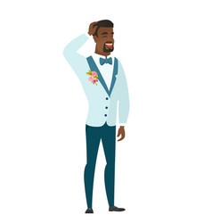 Young african-american bridegroom laughing vector
