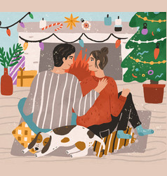Young couple hugging and sitting on carpet vector