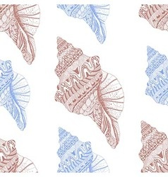 Zentangle stylized sea cockleshell seamless vector image