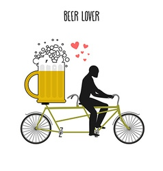 Beer lover Beer mug on bicycle Lovers of cycling vector image vector image
