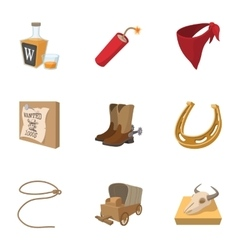Cowboys of Wild West icons set cartoon style vector image