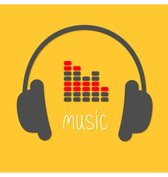 Headphones equalizer and white word Music Icon in vector image vector image