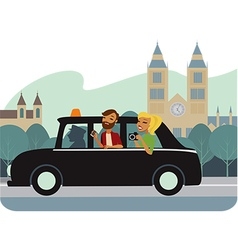 Young tourists in taxy vector image