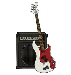 Electric bass guitar and the combo vector image vector image