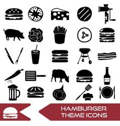 hamburger theme modern simple icons set eps10 vector image