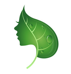 face of woman and green leaf vector image