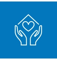 Hands holding house symbol with heart shape line vector image vector image
