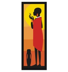 Masaj Woman standing against african sunset- vector image vector image