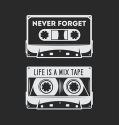 retro audio cassette t-shirt design vector image