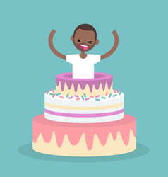 young black character jumping out of a cake flat vector image vector image