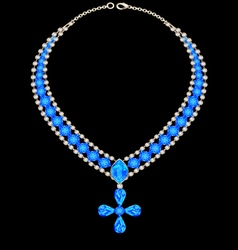 blue necklace with a cross vector image vector image