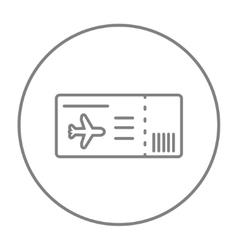 Flight ticket line icon vector image