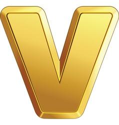 gold bar letter v vector image