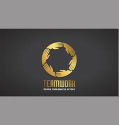 teamwork business gold hands logo design vector image vector image