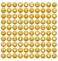 100 dispatcher icons set gold vector