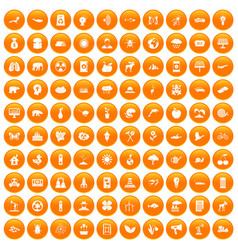 100 eco care icons set orange vector