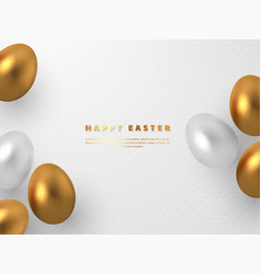 3d metallic golden and white eggs vector image