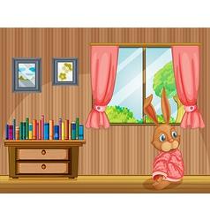 A bunny feeling cold inside house vector