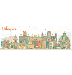 Abstract udaipur skyline with color buildings vector
