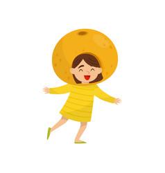 Adorable little girl in fruit headwear orange vector