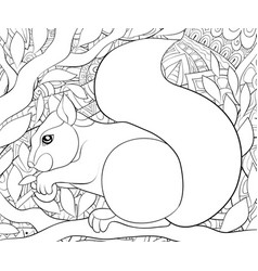 adult coloring bookpage a cute squirrel on the vector image