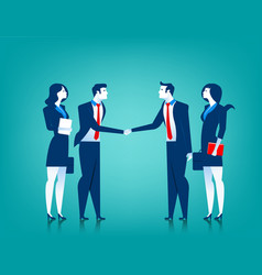 agreement cooperation business team shaking vector image