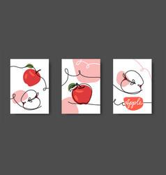 apple fruits wall line art decor set vector image