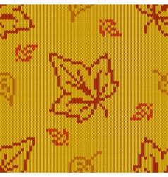 Autumn knitted pattern 2 vector