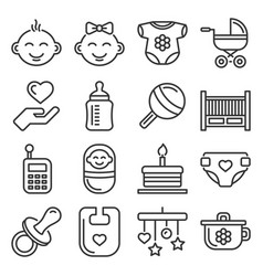 baby and childhood icons set on white background vector image