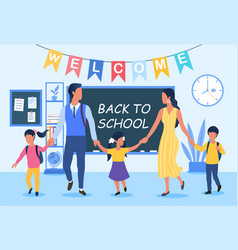 back to school concept with young family vector image