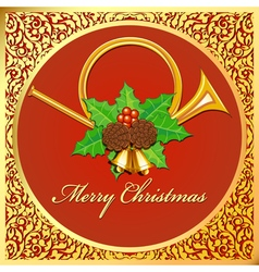 Background Christmas card with horns bells leaves vector
