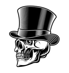 black and white a skull in top hat vector image