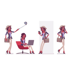 black attractive smart casual woman wearing hat vector image
