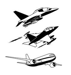 Black plane contour vector