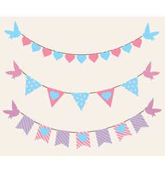 bunting hearts birds vector image