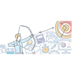 businessman hitting the target - modern flat vector image