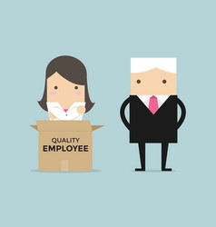 businessman manager unpack a box of employee vector image
