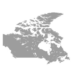 canada map grey colored on a white background vector image