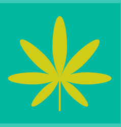 Cannabis green leaf hippie sign isolated on white vector