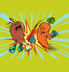 Carrot beats fast food fried chicken leg vector