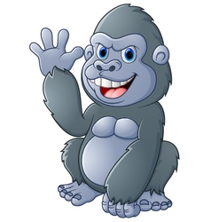 cartoon Gorilla waving hand vector image