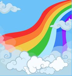 cartoon of fantasy magical landscape rainbow in vector image